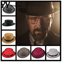Wholesale 2016 New Wool Felt Pork Pie Crushable Hat BREAKING BAD Hat Walter for Men Women Trilby Wool Cap Chapeu de Feltro Colors YY0768
