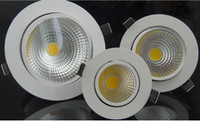 Wholesale High brightness Dimmable Recessed W W W W W Warm cold white led downlight COB LED Spot light led ceiling lamp AC85 V