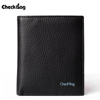 Wholesale Checkflag Men s Slim Wallet Soft Cowhide Leather Multi Card Wallets Leisure Style For Father And Boyfriend Black