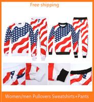 achat en gros de shirt drapeau américain femmes de-T-shirt imprimé drapeau américain 3D Hip Hop Emoji Pulls à col roulé + pantalon de jogging Tracksuit Running jogging Hoodies Set Mode femmes / hommes