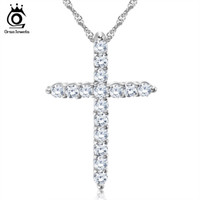 Celtic allergy necklaces - Silver Cross Pendant Necklace Sterling Silver with Layer Platinum Plated Allergy Free Trendy Jewelry ON56
