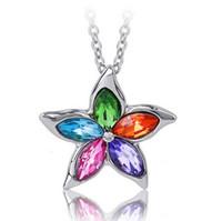 Wholesale Austrian Crystal CZ Diamonds Five Star leaves flower Pendant Charm Necklace Women Necklace