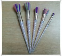 Wholesale Newest Unicorn Makeup Brush set Professional Brushes Makeup Brushes Colorful Brushes Plastic Unicorn Spiral Brush Powder DHl Ship