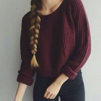 Cheap Wholesale-Hot Sale 2015 New Autumn Winter European Short Knitted Pullover Fashion Women Sweater Vintage Sweaters Jumper Loose Pull Femme