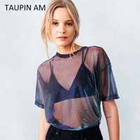 Wholesale TAUPIN AM Shining Summer Women Blouses Sexy Lace See through Silk Tops Short Sleeve Casual Loose shirts Pullover Beachwear