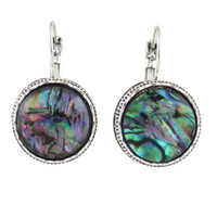 antique style earrings - Ethnic Style Antique Silver with Colorful Acrylic Round Earrings