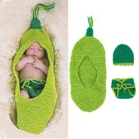 Wholesale Newborn Baby Sweater Suit Photo Photography Props Sleeping Bag Crochet Knit Costume Blankets With Pants And Hat BP027