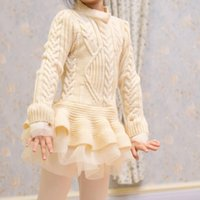 bebe shirt dress - Winter Fiesta Thick Princess Party Wool Knitted Lace Sweater Blouse Shirt Ropa Party Dress Robes Enfant For Bebe Fille Baby Girl