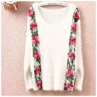 achat en gros de free appliques crochet fleurs-Vente en gros de sac à main de crochet de chandail de femmes de hollowout de fleur de crochet de chandail de femmes de long-