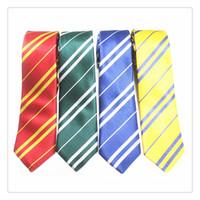 Wholesale Harry Potter tie Harry Potter Costume School Crest Tie gryffindor ravenclaw hufflepuff striped ties School necktie for Costume Accessory