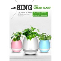 Wholesale TOKQI Bluetoth Smart Touch Music Flowerpots Plant Piano Music Playing Wireless Flowerpot colorful light Flower pots whitout Plants