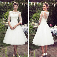 Wholesale NEW Vintage Lace Wedding Dress A Line Ankle Length Ivory Tulle Elegant Scoop Neck Half Sleeve Cheap Bridal Gown With Appliques