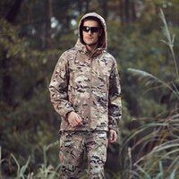 Wholesale Men Military Tactical Jackets Outdoor Waterproof Army Sports Camouflage Hunting Camping Hiking Thermal Fleece Lining Coat