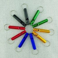 Wholesale 100 piece CM Large Emergency Hiking Camping Survival Aluminum Whistle Key Chain Assorted colors