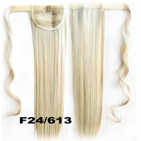 Wholesale inch Long Straight Fake Hair Ponytail Apply Hair Clips Pony Tails Hairpiece Ribbon Ponytails Extensions Synthetic Hair Piece