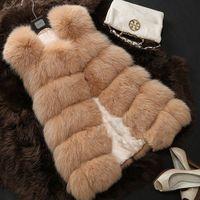 Wholesale 2016 Women Imitate Raccoon Faux Fur Vest Coat Vintgae Winter Warm Oversize Outwear