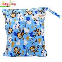 Vente en gros-OhBabyKa Baby Diaper Sacs Impression De Caractère Changement De Sacs Mouillés Baby Tissu Couches Sacs 30x40cm Marque Bébé Nager Sac à couches Nappy