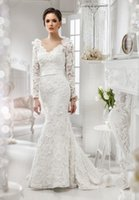 Cheap Sexy Open Back Sweetheart Wedding Dresses Elegant Long Sleeves With Sash modest wedding dresses With Full Lace Custom Made