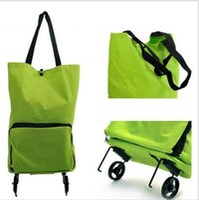 Cheap Reusable Oxford Foldable Bag Fashion canvas folding shopping bag trolley bags Silent wheels Shopping cart portable on Wheels Green Orange