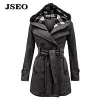 belted pea coats - JSEO Women Wool Double Breasted Belted Trench Coat Winter Long Trench Hooded Jackets Coat Woolen Pea Coat Blazer Overcoat