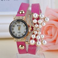 auto synthetics - Bowknot Bead Style Women Dress Quartz Wristwatch Rhinestone Bracelet Watches Synthetic Leather Strap For Girl Gift