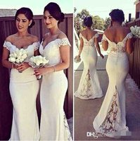 Cheap Elegant Long Formal Dresses for Women 2016 Lace Off Shoulder Mermaid Sweep Train Corset Bridesmaid Dresses Covered Button Back Sweep Train