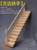Wholesale 1 scale DIY Dollhouse Miniature Furniture Straight Stairway Left Handrail No