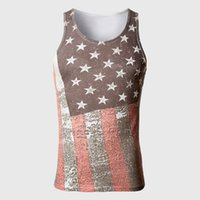 al por mayor flag swags-Venta al por mayor- American Flag Body Tank Top Hombres Algodón Material Chalecos Tops Muscle Swag Striped Star Imprimir Sin mangas