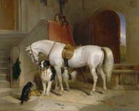 Oil Painting art holdings - Framed nice white horses with dogs holding Horsewhip in stable Pure Handpainted Animal Art Oil Painting Quality Canvas Multi sizes ZZ002