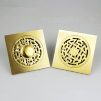 Wholesale Antique Brass Carved Art Bathroom Accessory Floor Drain Waste Grate inch mm mm