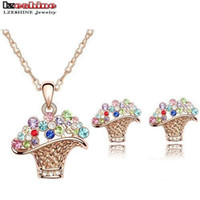 basket pendant light - LZESHINE Fashion Flower Basket Jewelry Set With Necklace Pendant Earring Austrian Crystal Wedding Jewelry Colors Options ST0007