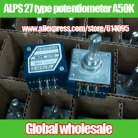 Wholesale ALPS type double volume potentiometer A50K MM shaft length mm Hi Fi stereo type metal pinion potentiometer
