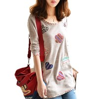 bell patch - New Fashion Women Heart shaped Floral Patch Loose Long T shirt Casual Long Sleeve O neck Knitted Tops Tee Plus Size Tshirts