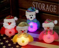 Wholesale 2016 NEW Christmas Home Decors colorful light flash snowman doll Small night light rice crystal snowman s accessories
