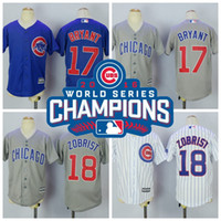 Wholesale 2016 kids World Series Champions Patch Kris Bryant Chicago Cubs Throwback Gray Green Blue White boy child youth Baseball Jerseys