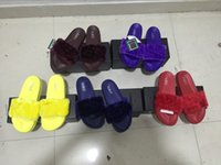 Wholesale Hot Rihanna Leadcat Fenty Faux Fur Slide Sandal Women Classical Fenty Slippers Black Slide Sandals Fenty Slides Red Yellow Purple Blue