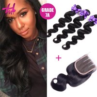 Wholesale 7A Bundles Human Hair Full Cuticle Malaysian Body Wave With Closure Cheap With Closure Malaysian Virgin Hair With Closure