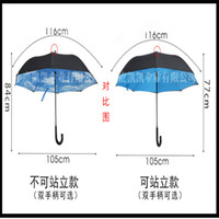 Wholesale Inverted Umbrella Double Layer Inverted Umbrella Reverse Rainy Sunny Umbrella with C J HandleSelf Standing Inside Out Special Design