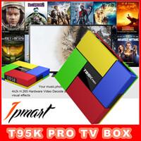 Wholesale 2pcs T95K PRO Amlogic S912 OCTA CORE Android TV Box KODI Fully loaded G G WiFi M Lan GB GB Stream Smart TV Box