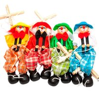 baby traditions - Marionette Baby Toys Hand Finger Puppets Clown Wooden Marionette Toy Joint Activity Doll Vintage Funny Traditions Classic Toy
