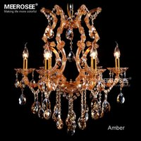 Wholesale Classic Style Amber Chandelier Crystal Light With Maria Theresa Chandeliers Style Glass Crystal Lighting Fixture Fast Shipping For Meeting
