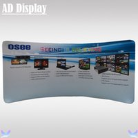 Wholesale 17ft Curved Portable Aluminum Tension Fabric Exhibition Display Stand With Full Color Banner Printing Trade Show Booth Advertising Backdrop