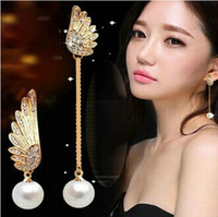 Wholesale Angel wings asymmetrical pearl tassel Dangle Angel wings chandelier Angel wings earring