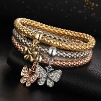 amazon pendants - Amazon wish hot style alloy three color suits spring maize chain Set auger butterfly pendant bracelet with women
