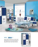 Wholesale Cute MDF Teenage Boy Kids Bedroom Furniture Set with Door Wardrobe Nightstand Bookcase Bed