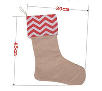 Wholesale 12 inch new arrival canvas Christmas stocking gift bags canvas Christmas Xmas checvron stocking decorative socks bags pces