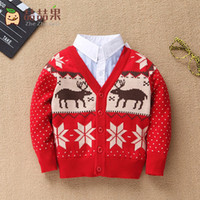baby knitted cardigan patterns free - Baby Children Clothes Boy Girl Knit Cardigan Sweater Turn down Collar Cotton Christmas Deer Pattern Outerwear