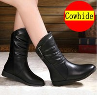 belle toe - BELLE in the new autumn and winter Cowskin boots female Flat Boots genuine leather women boots flat documentary Martin Cowhide size