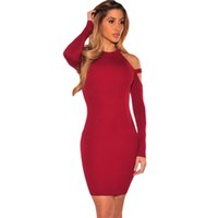 Wholesale Women Dress Winter Dresses Women Clothing Sexy Bodycon Knitting Sweater Olive Wine Strappy Cold Shoulder Long Sleeve Mini Dress