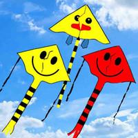 Wholesale Smile Stunt Kite Cometa Toys For Child Four Color Smile Angel Smiley Kite Sports Beach Kites CM CM